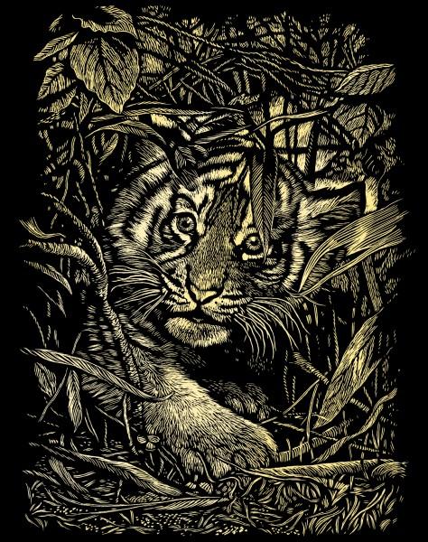 Reeves Gravurfolien Gold Versteckter Tiger