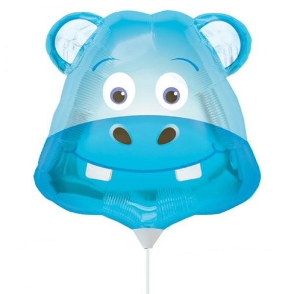 Mini Folienballon Happy Hippo Kopf - 35cm