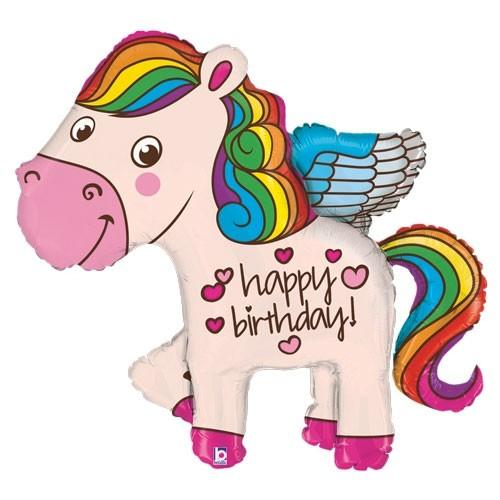 Regenbogen Pony Happy Birthday Folienballon