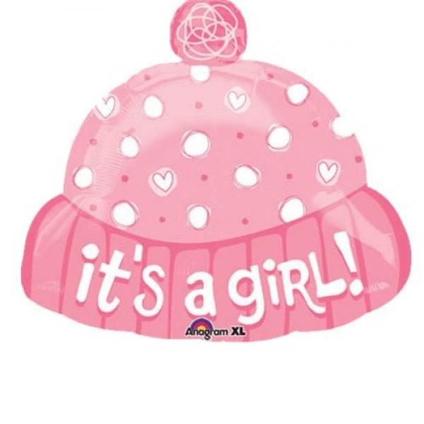 Baby Mütze rosa Folienballon - 45cm