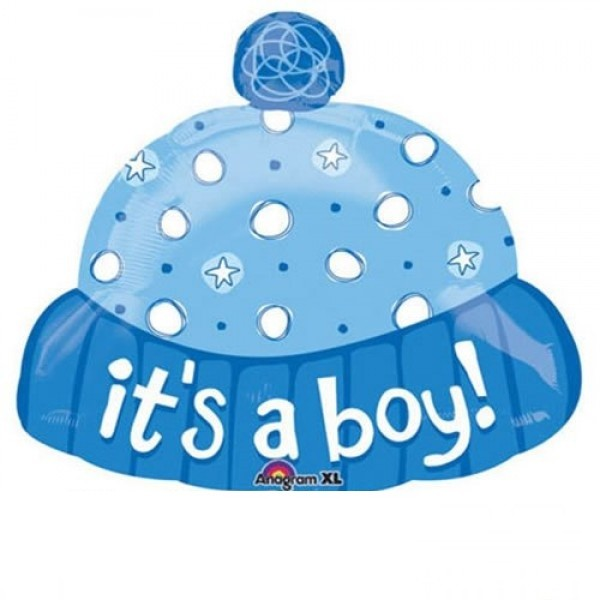 Baby Mütze blau Folienballon - 45cm
