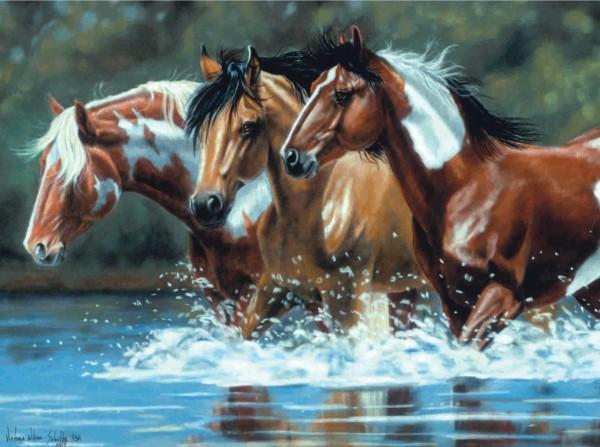 Reeves Artist Collection Malen nach Zahlen Pferde Flussaufwärts