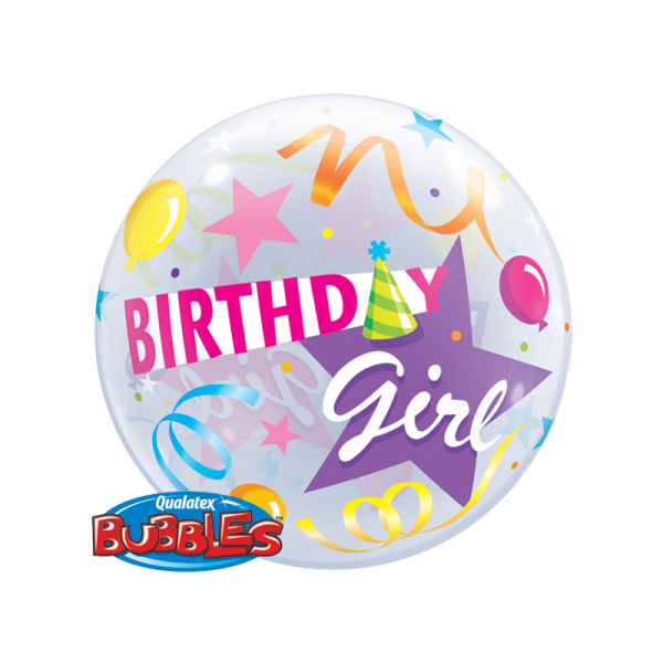 "Qualatex Bubble Birthday Girl Partyhut 22"" 56cm Luftballon"