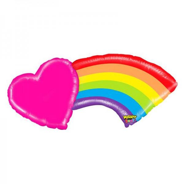 Regenbogen mit Herz Folienballon - 109cm