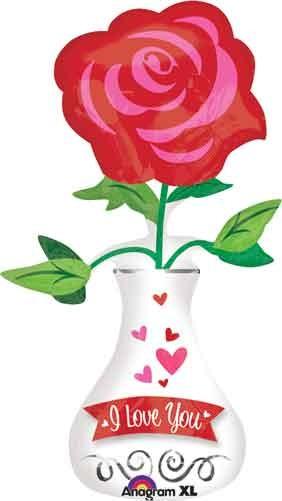 I Love you- Ich liebe Dich- Vase mit Rose Folienballon
