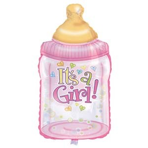 Babyflasche rosa Folienballon - 84cm