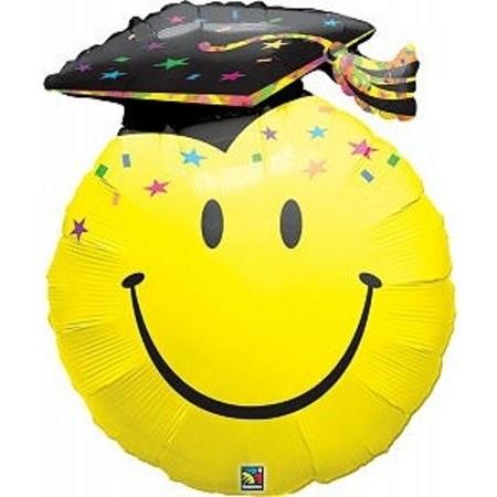 Schul Party Smile Face Grad Folienballon - 91cm