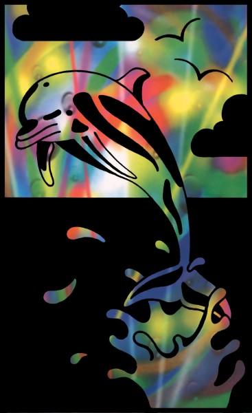 Reeves Mini Gravurfolien Regenbogen Delfin