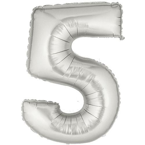 Große Folienballon Zahl 5 (silber)