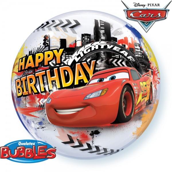 "Qualatex Bubble Happy Birthday Cars 22"" 56cm Luftballon"
