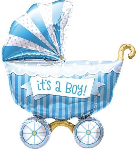 Mini Folienballon Baby Boy Kinderwagen Junge Buggy Blau