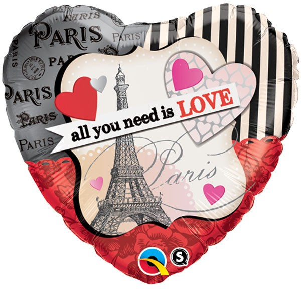 Folienballon Herz Paris 'all you need is love'
