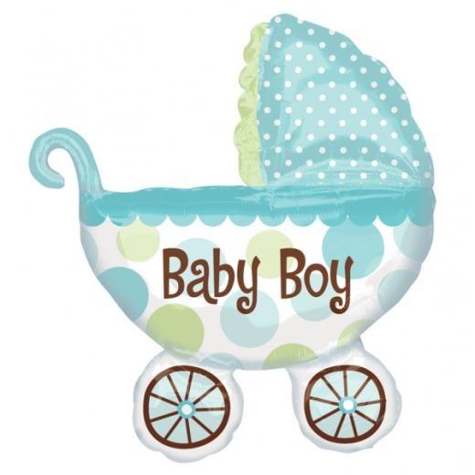 Kinderwagen Baby Buggy Boy blau Folienballon