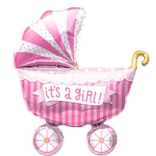 Mini Folienballon Baby Kinderwagen Rosa