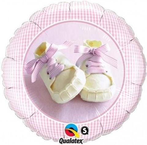 Babyschuhe rosa Folienballon - 46cm