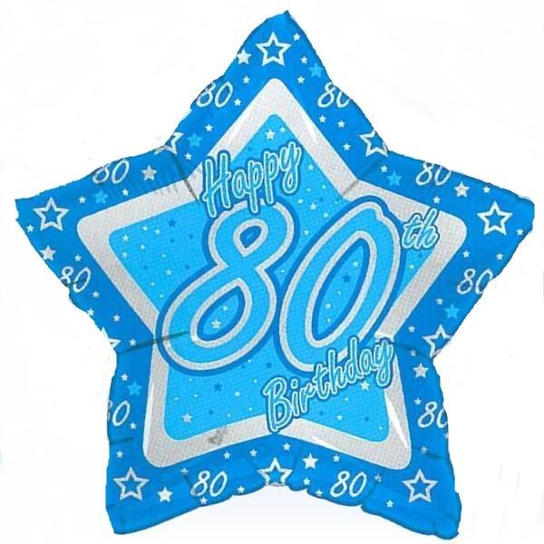 80.Geburtstag Stern Folienballon - 53cm