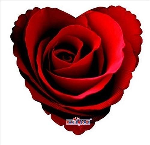 Folienballon Herz mit Rosenblüte - 45cm