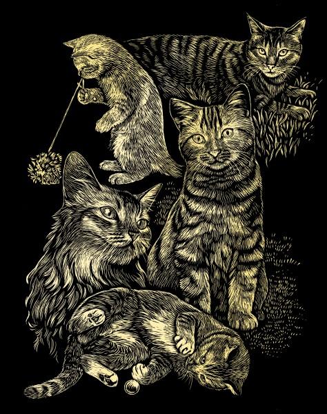 Reeves Gravurfolien Gold Katzen-Montage