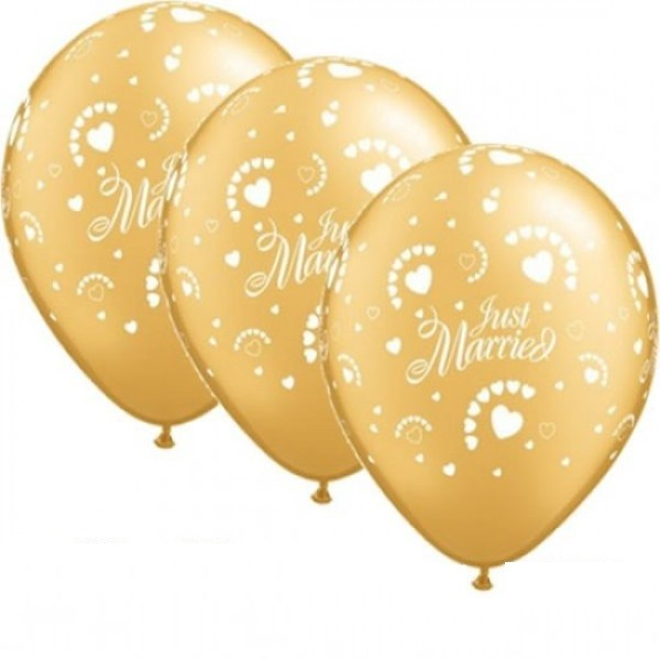 Just Married Hearts gold Qualatex Latexballon - 27,5cm