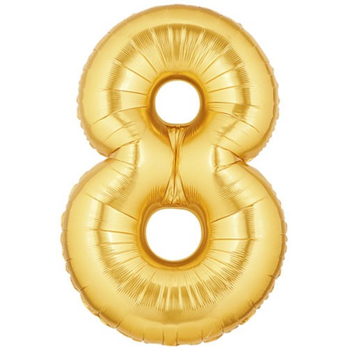 Große Folienballon Zahl 8 (gold)