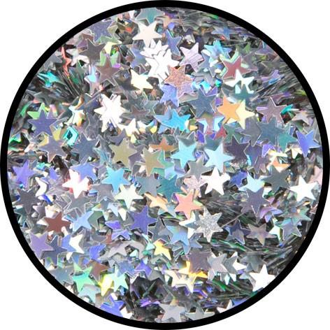 """12 g Holographischer Streu Glitzer """"Silber Sterne"""""""