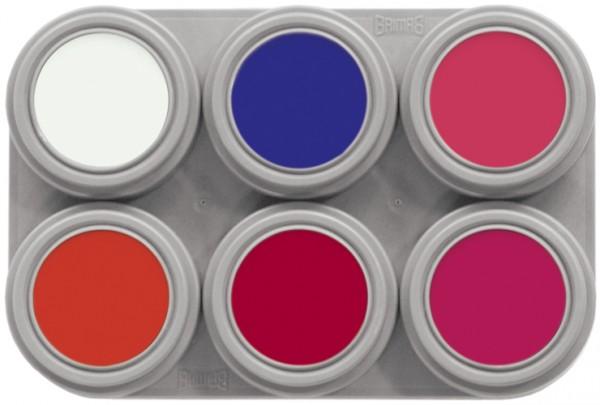 Grimas Water Make-up Fluor F6 - 6 x 2,5 ml Palette