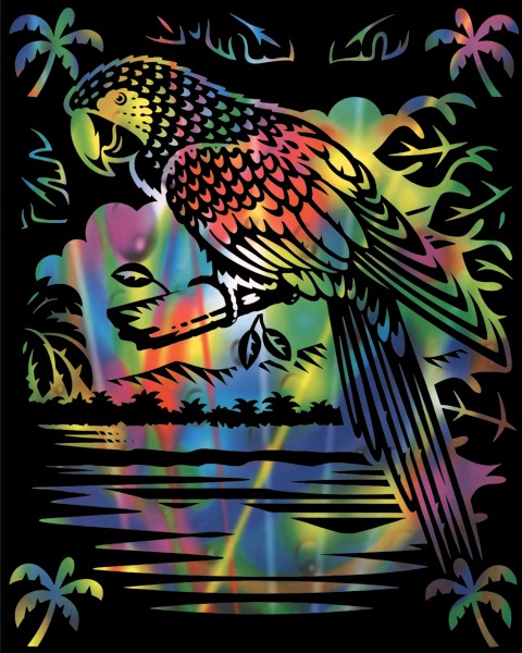 Reeves Gravurfolien Regenbogen Papageien