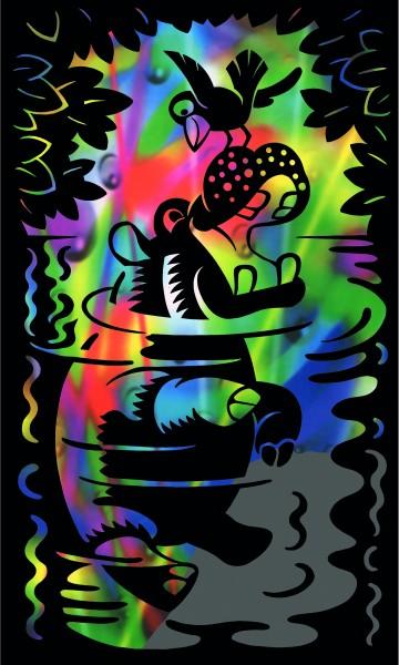 Reeves Mini Gravurfolien Regenbogen Nilpferd