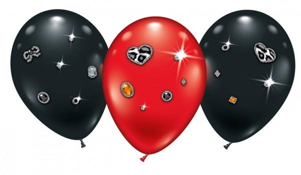 4 Ballons Leopard Heart Jewels Latex Luftballon ca. 23cm