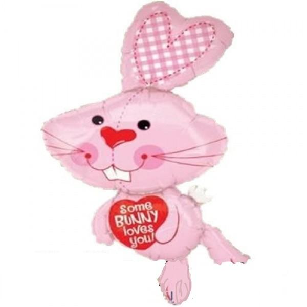 rosa Hase mit Herz - Bunny Folienballon - 81cm