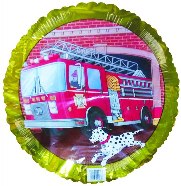 Firetruck Number 9 Birthday Gold Border Folienballon - 45cm