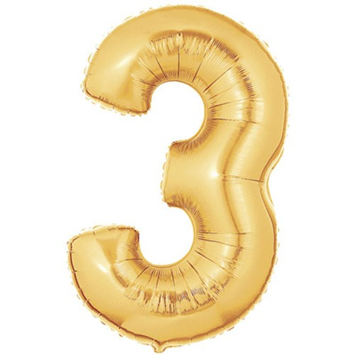 Große Folienballon Zahl 3 (gold)