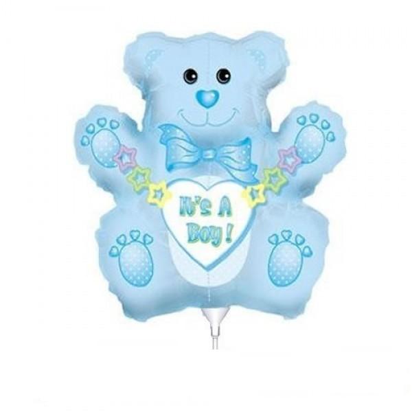 Mini Folienballon Baby Bär Junge - 35cm