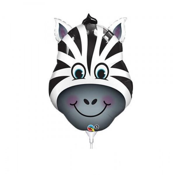 Mini Folienballon Zebra Kopf - 35cm