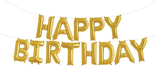 Buchstaben Folienballon Set gold HAPPY BIRTHDAY 41cm