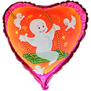 Geist auf Schaukel Herz Folienballon - 45cm