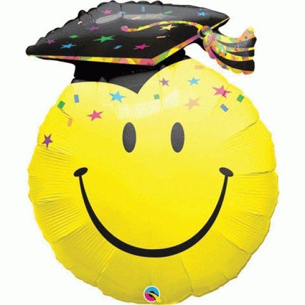 Mini Folienballon Smiley mit Graduationsmütze/ Abschluss/ Examen/ Party