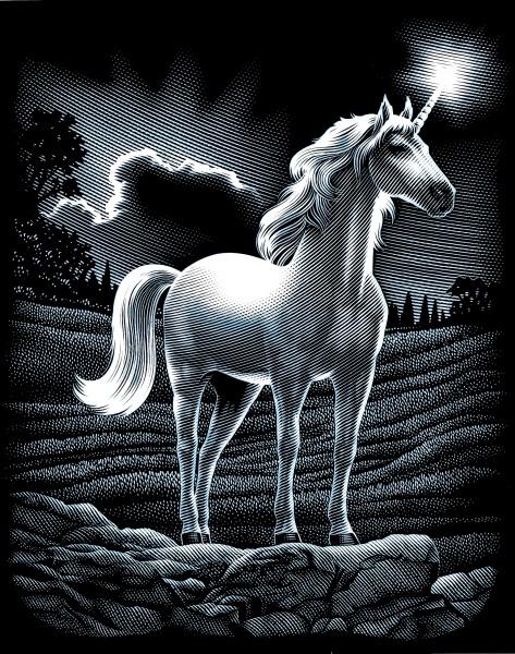 Reeves Kratzbild Silber Einhorn