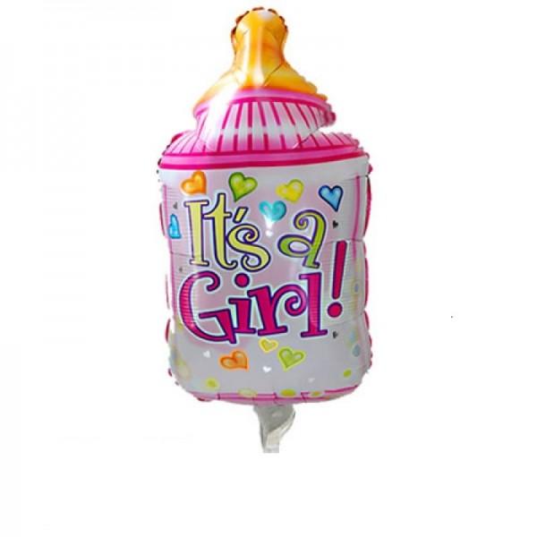 Babyflasche rosa Folienballon - 96cm