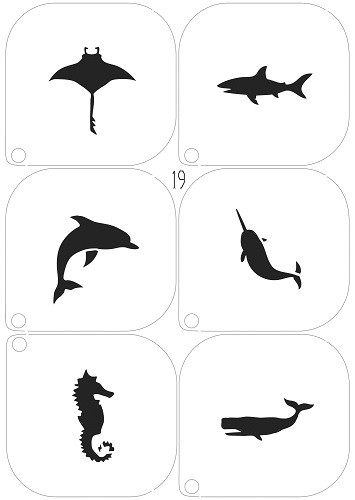Grimas Schminkschablone Delfin, Seepferdchen und Co Nr. 19