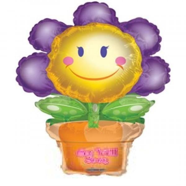 Mini Folienballon Blumentopf Get well Gute Besserung - 45cm