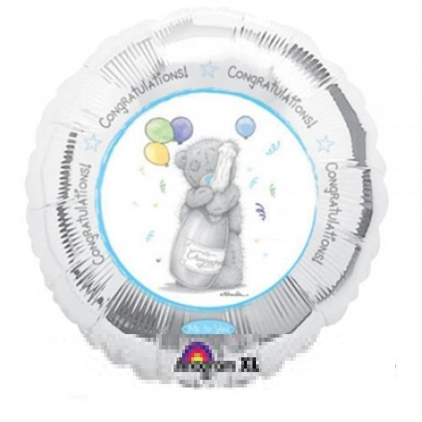 Tatty Baby Bear mit Sektflasche Folienballon - 45cm