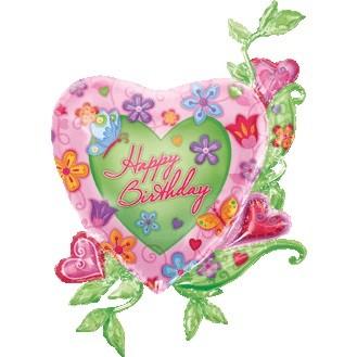 Happy Birthday Garden Folienballon - 104cm