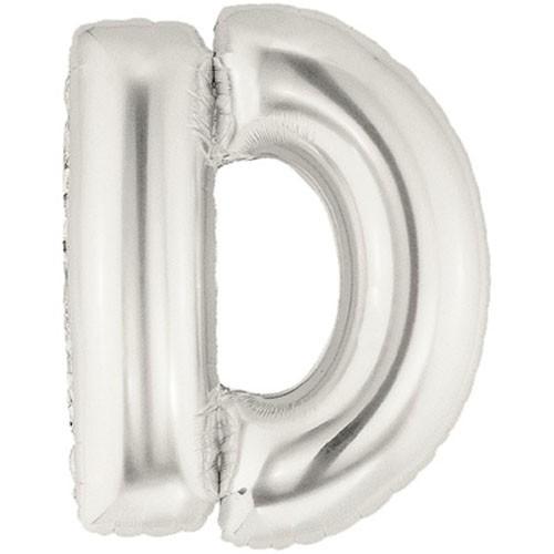 Buchstaben D silber Folienballon - 101cm