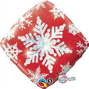 Snowflakes Sparkles Red Folienballon - 45cm