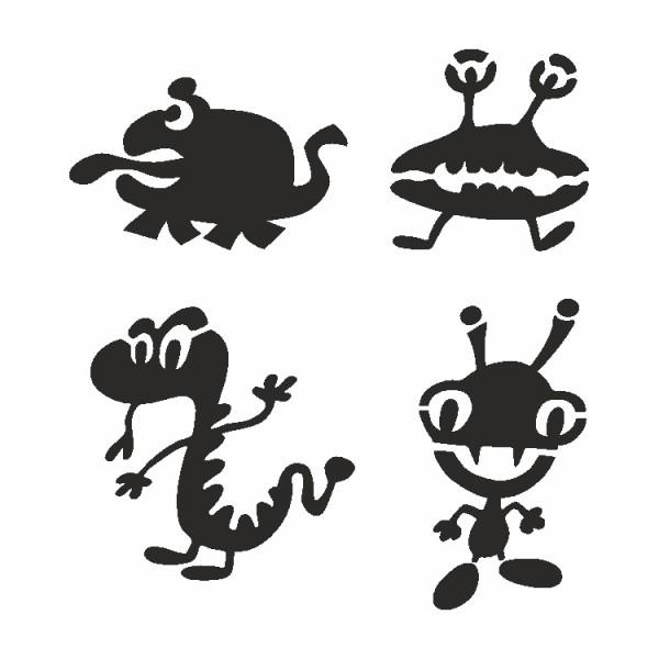 Selbstklebe Schablonen Set Aliens Eulenspiegel