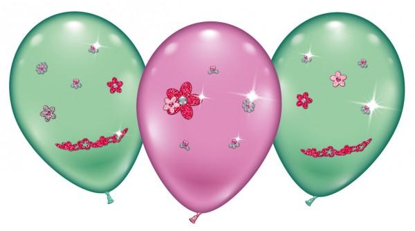 4 Ballons Flower Jewels Latex Luftballon ca- 23cm