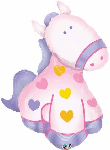 Soft Pony mit Herzen Folienballon - 117cm