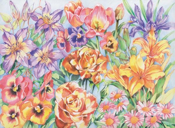 Reeves Malen nach Zahlen mit Buntstiften Blumen