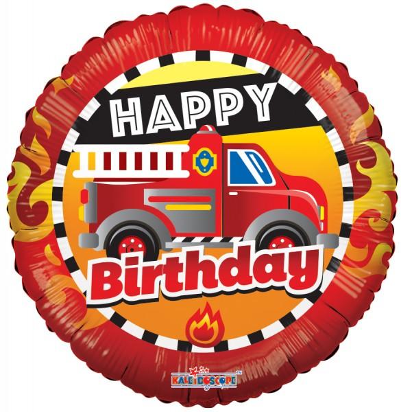 Happy Birthday Fire Truck Folienballon - 45cm